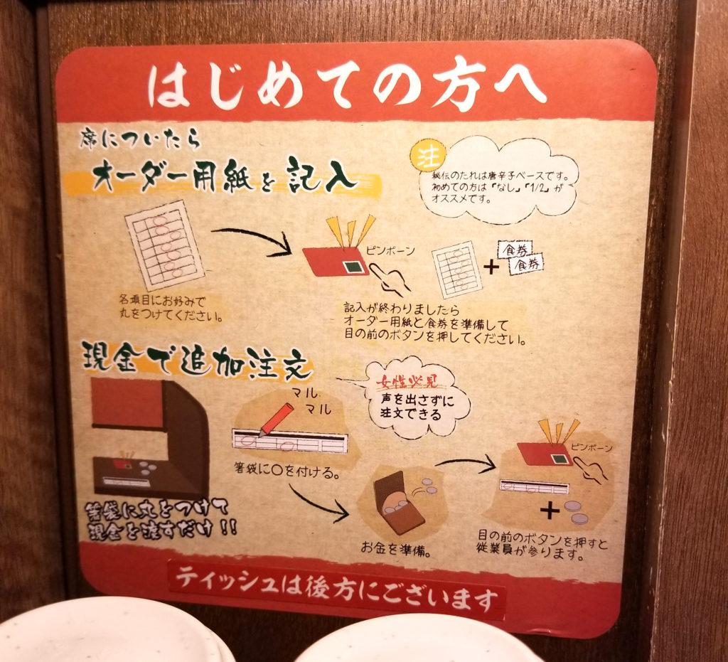 ramen一蘭テーブル注文方法